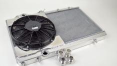 CSF 7075 96-07 Mitsubishi Evo 4/5/6/7/8/9 Full-Slim Radiator w/12in Fan & Shroud/-16AN & Slip On Fitting