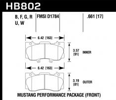 Hawk 16-17 Ford Mustang HP+ Street Front Brake Pads
